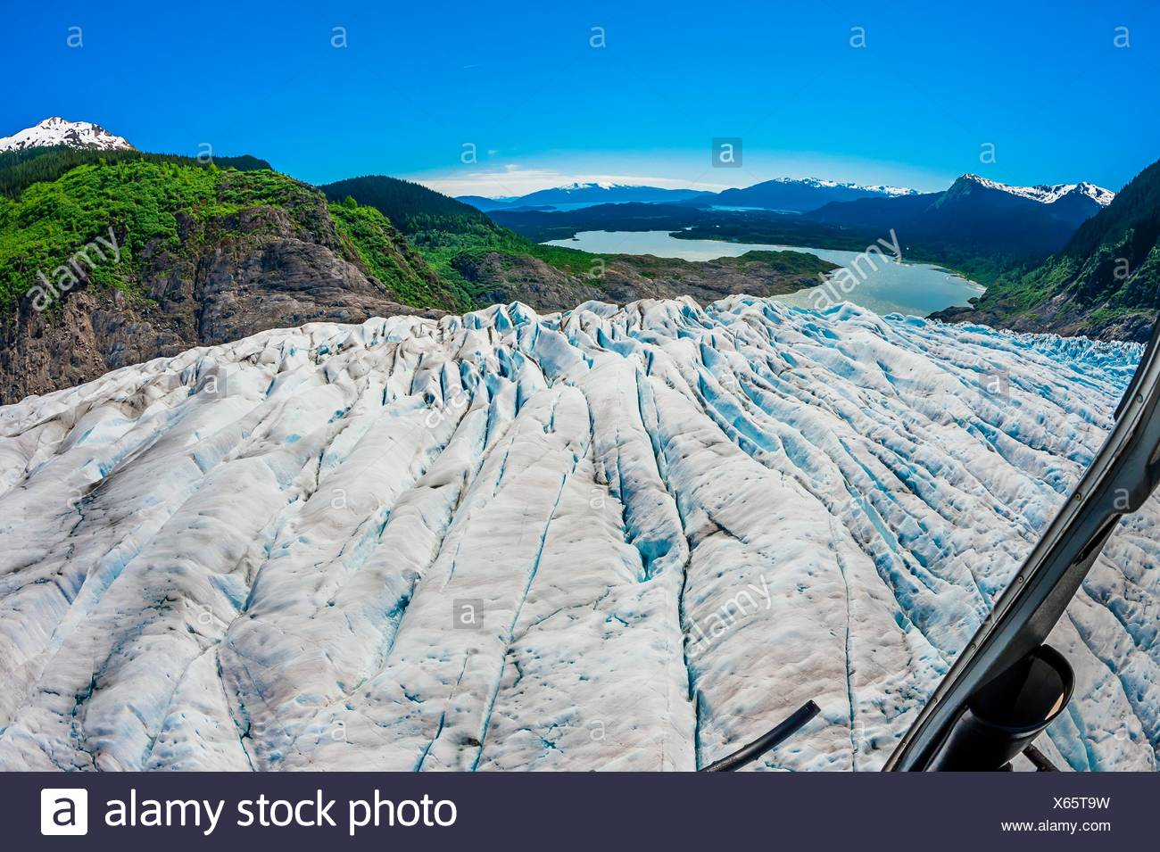 Aerial view, Mendenhall Glacier (with Mendenhall Lake in background), near Juneau, Alaska USA. - Stock Image
