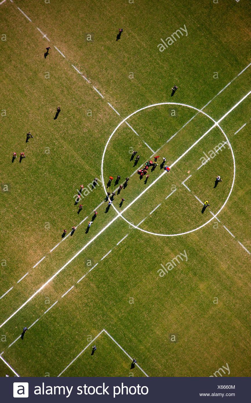 Aerial photo, sports field, Hagen Hohenlimburg, Sauerland region, North Rhine-Westphalia, Germany, Europe - Stock Image