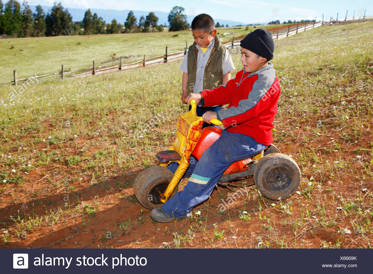 Two boys playing with a tricycle, Mapuche Indians, near Concepción, Southern Chile, Chile, South America - Stock Image