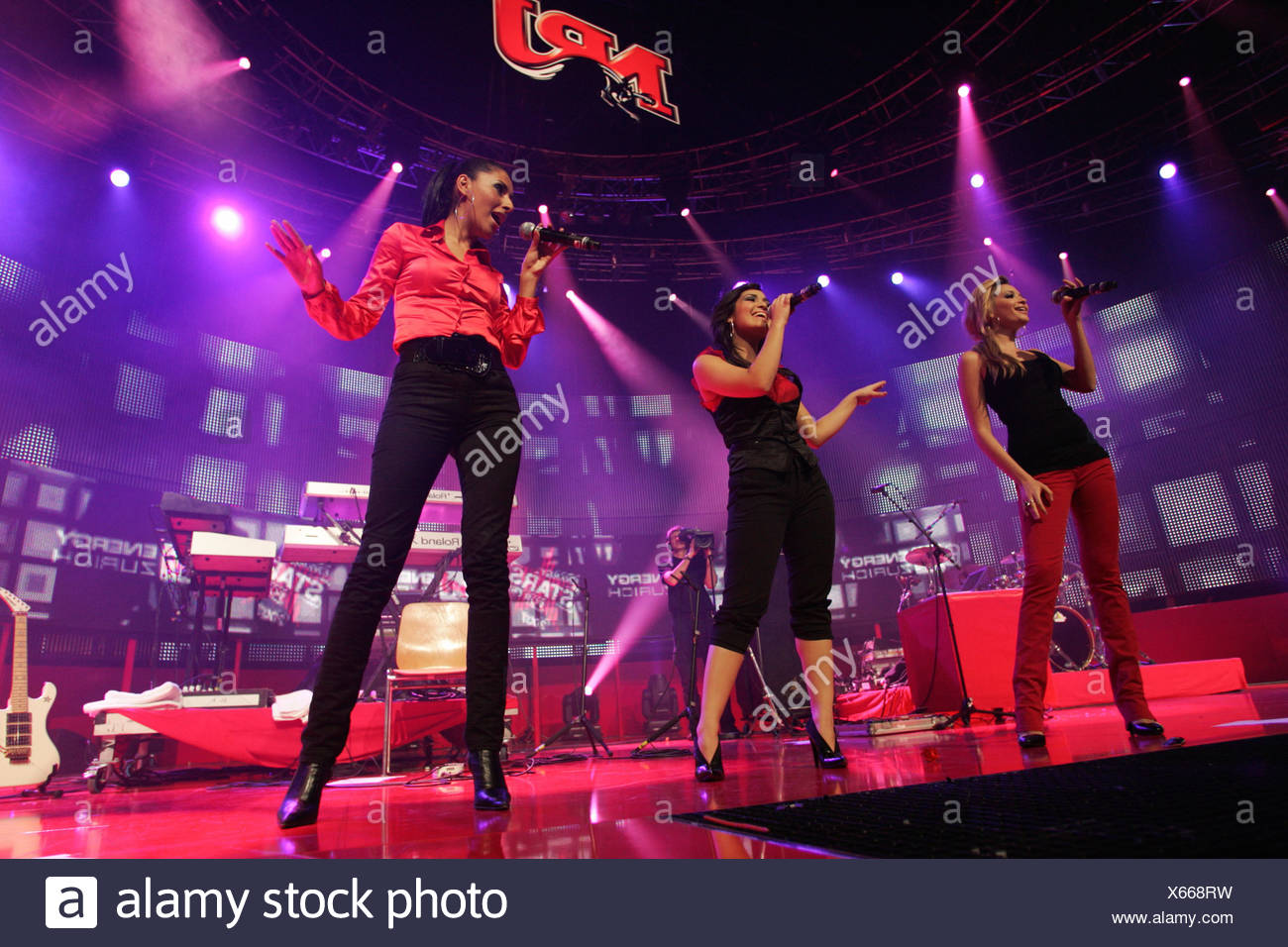 German girlgroup Monrose performing live at Energy Stars For Free at Hallenstadion Zurich, Switzerland - Stock Image