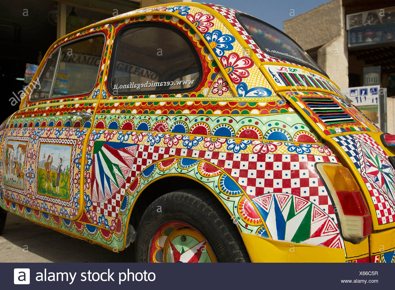 Italy, Sicily, South Italy, Europe, island, Fiat 500, Traditional, brightly, painted, car, automobile, outside, day, nobody, - Stock Image