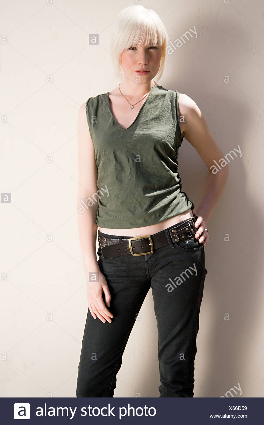 Portrait of a blond woman - Stock Image