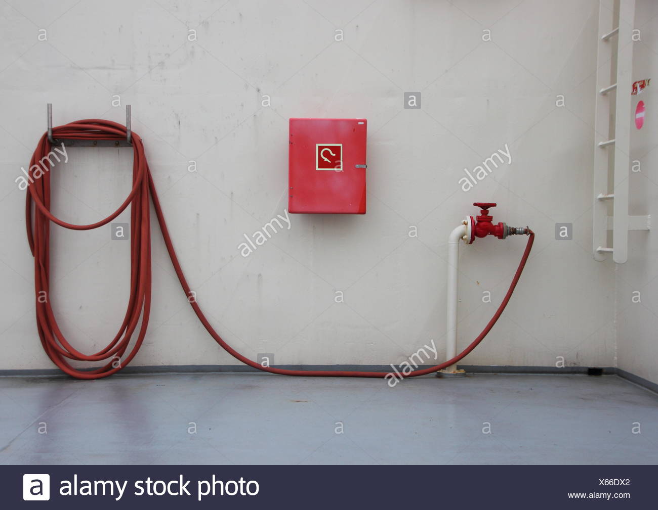 Fire Extinguish Equipment on Ferry Deck with Shadow - Stock Image