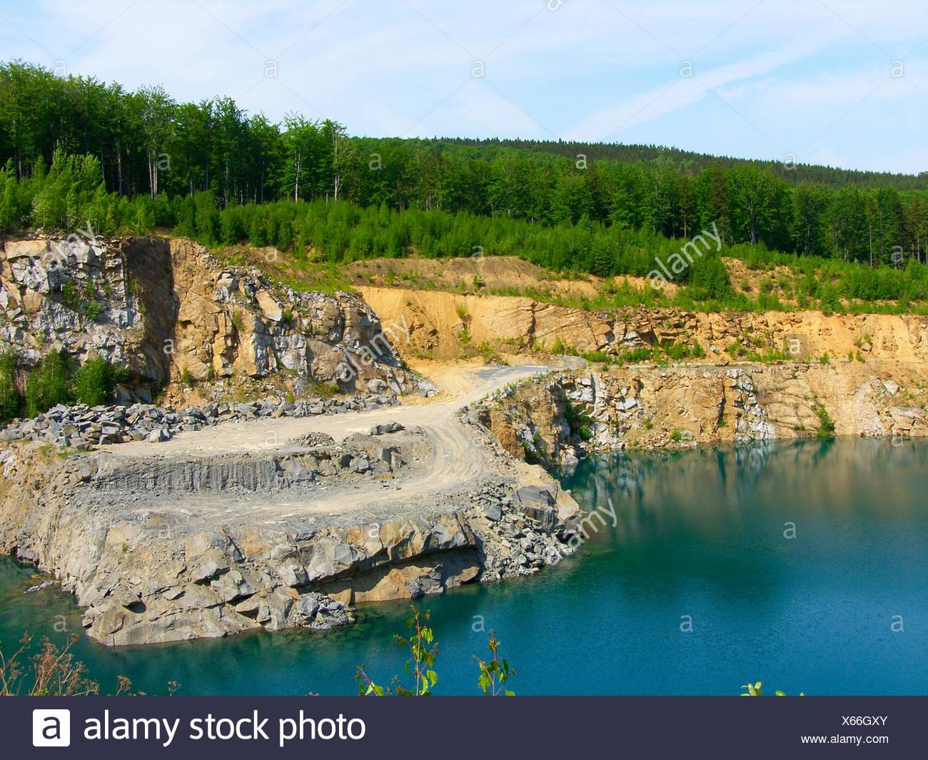 lake,quarry,lausitzer mountain country - Stock Image