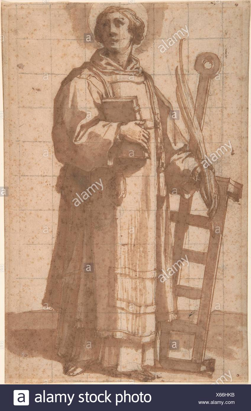 Saint Lawrence. Artist: Bartolomeo Cesi (Italian, Bologna 1556-1629 Bologna); Date: 1619; Medium: Pen and brown ink and wash, with squaring in black - Stock Image