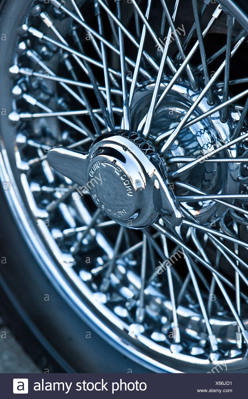 Tyre on Aston Martin DB5, James Bond classic car - Stock Image