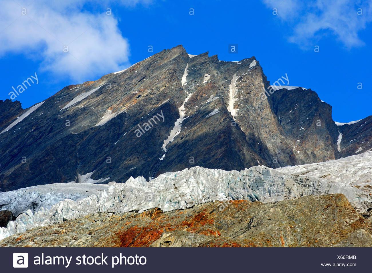 Ice front of the Anen Glacier, Loetschental Valley, Valais, Switzerland, Europe - Stock Image