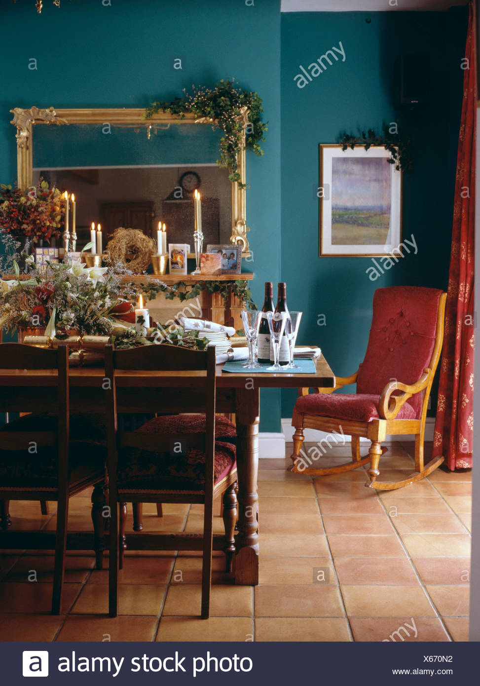 Dark Green Dining Room Design Ideas Remodels Photos: Antique Table Set For Christmas Lunch In Traditional Dark