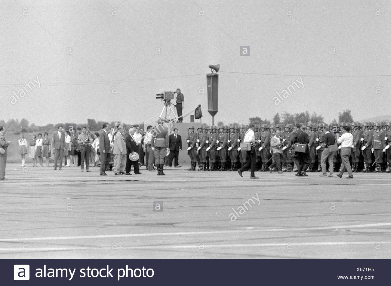 Khrushchev, Nikita Sergeyevich, 17.4.1894 - 11.9. 1971, Soviet politician, General Secretary of the Central Commitee of the Communist Party of the Soviet Union 1953 - 1964, visit to the German Democratic Republic, arrival at Schönefeld Airport, 17.1.1963, , Additional-Rights-Clearances-NA - Stock Image