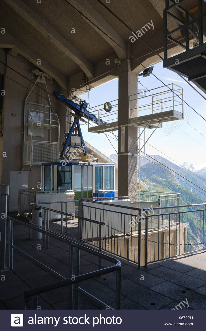 Pavillon du Mont Frety, Funivie Monte Bianco, Mont Blanc funicular, Mont Blanc Massif, Alps, Italy, Europe - Stock Image