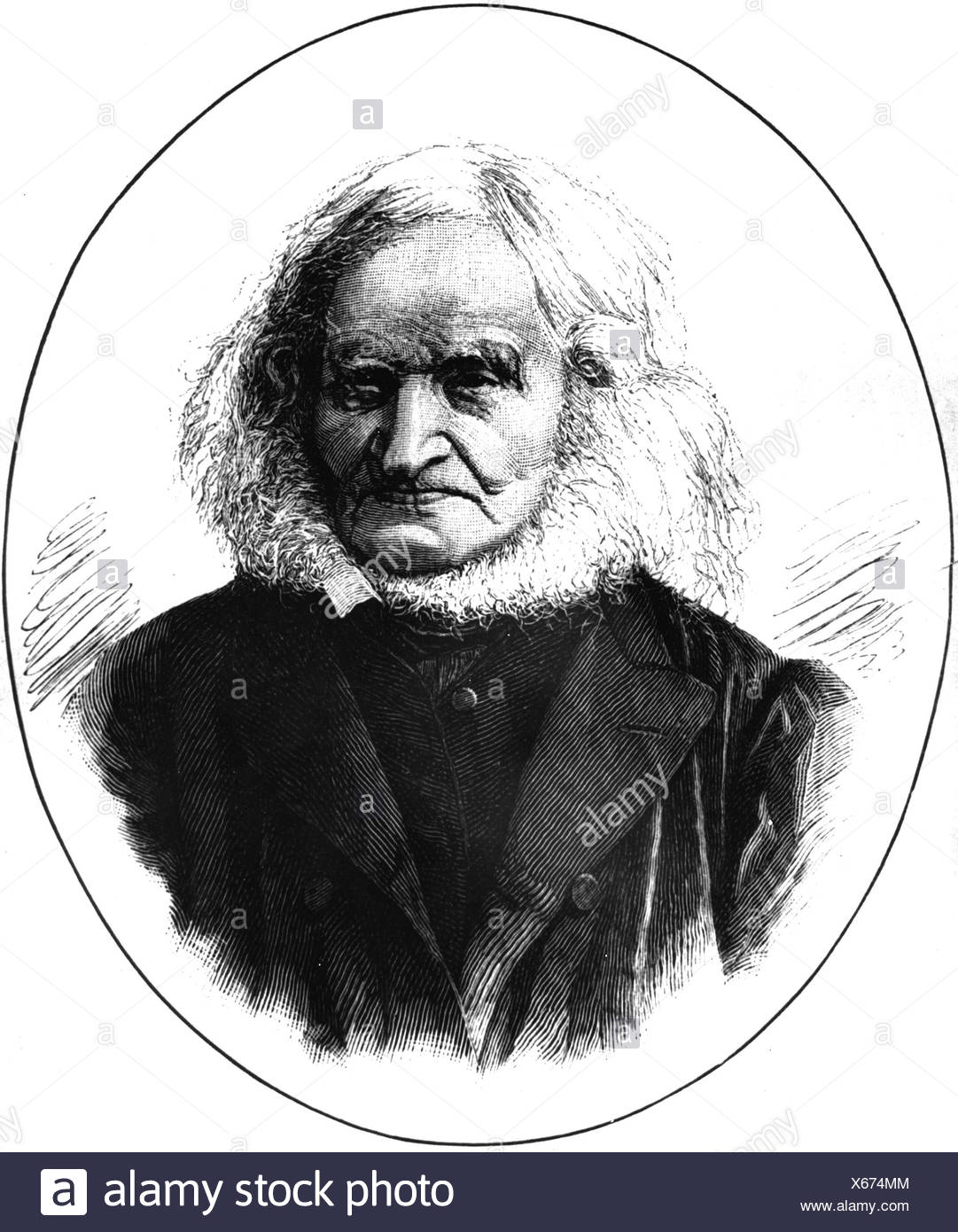 Zunz, Leopold, 10.8.1794 - 17.3.1886, German theologian (Jewish), founder of the 'Science of Judaism', portrait, wood engraving, 19th century, Additional-Rights-Clearances-NA - Stock Image