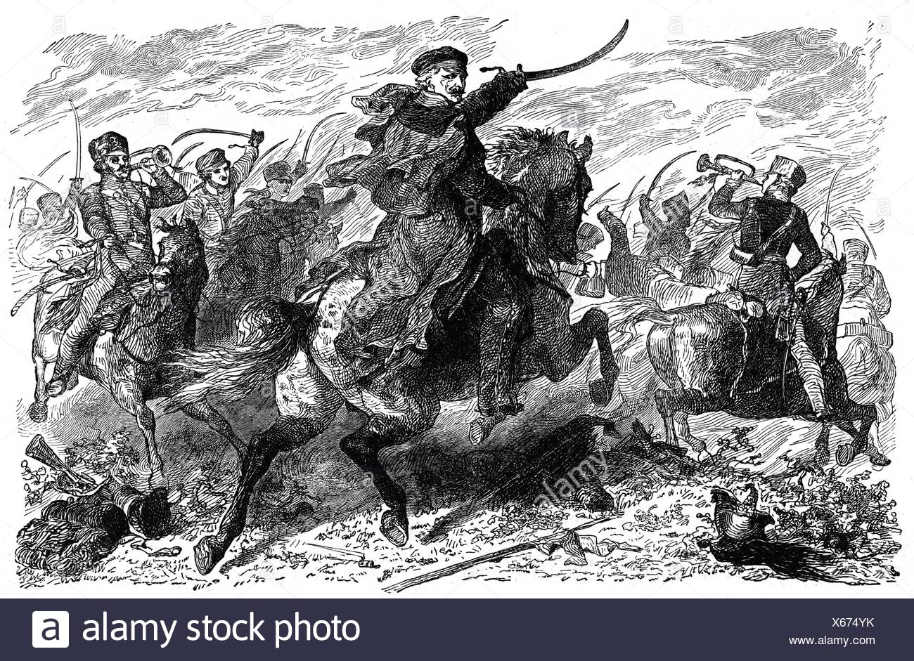 War of the Seventh Coalition 1815, Battle of Ligny, 16.6.1815, the Prussian army under field marshal Gebhard Leberecht von Bluecher in combat, wood engraving, late 19th century, Additional-Rights-Clearences-NA - Stock Image