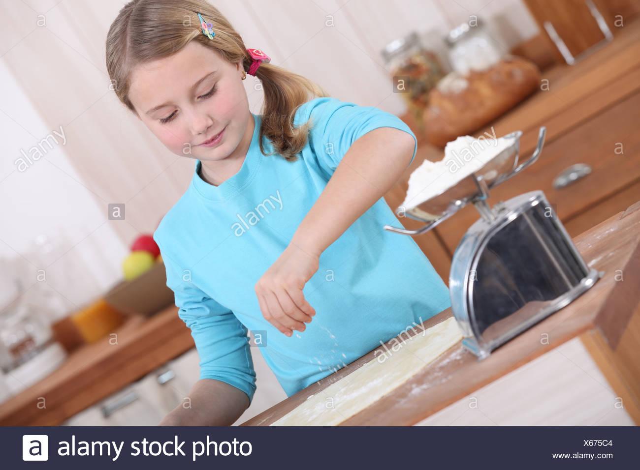 Little Girl Making Pancakes Stock Photos & Little Girl Making ...