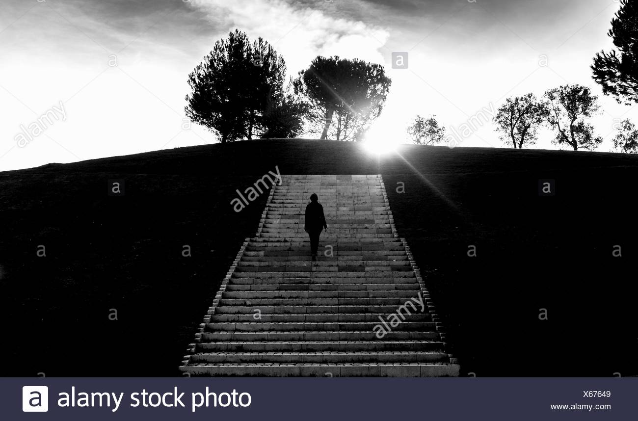 Rear View Of Woman On Steps Against Sky - Stock Image