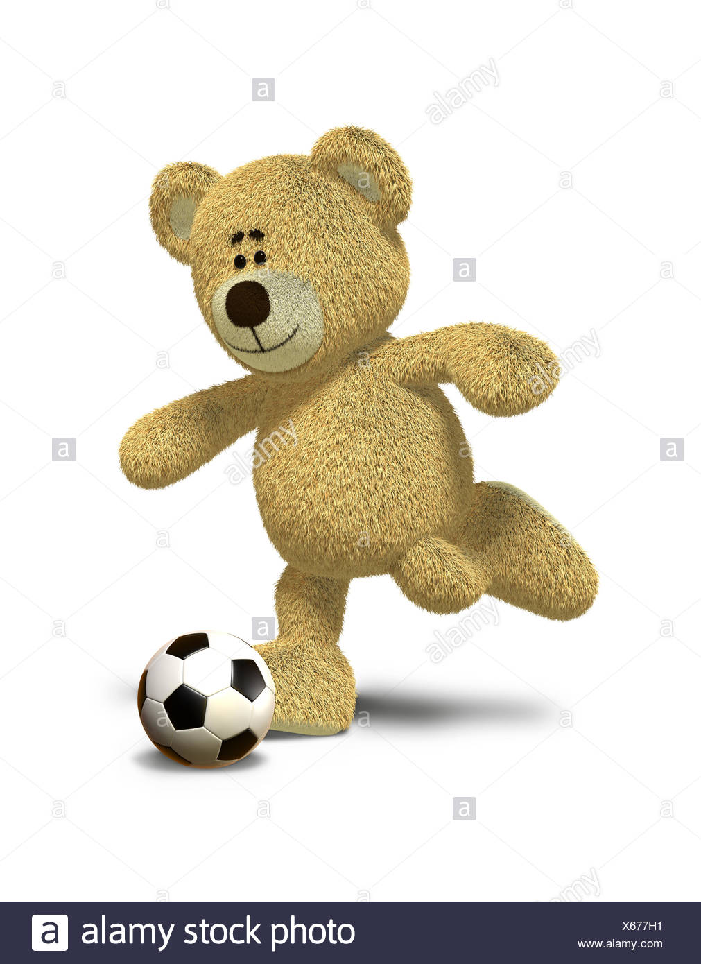 Nhi Bear kicks a soccer ball - Stock Image