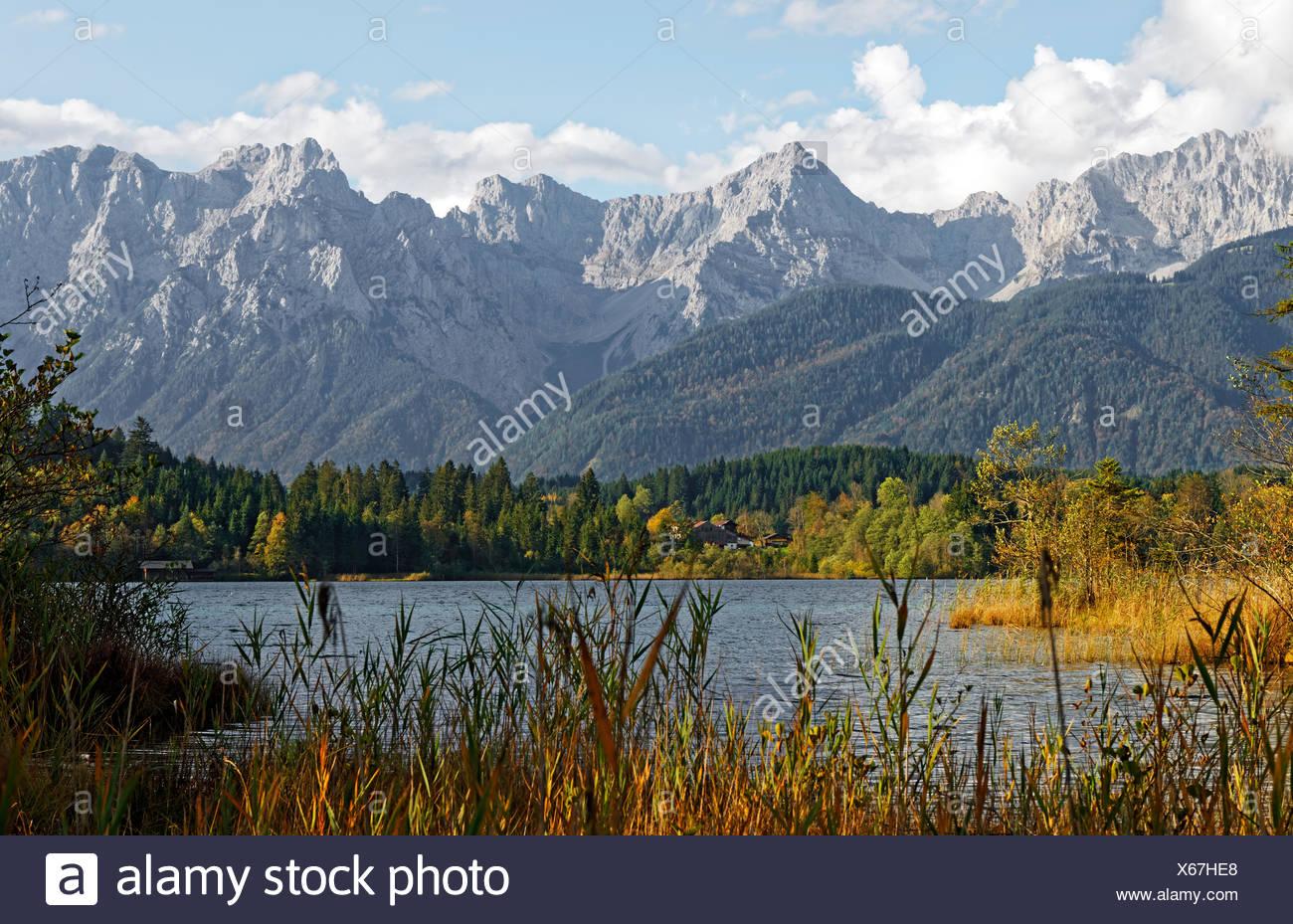 Barmsee bei KrŸn, Karwendel, Werdenfelser Land, Oberbayern, Bayern, Deutschland, Stock Photo