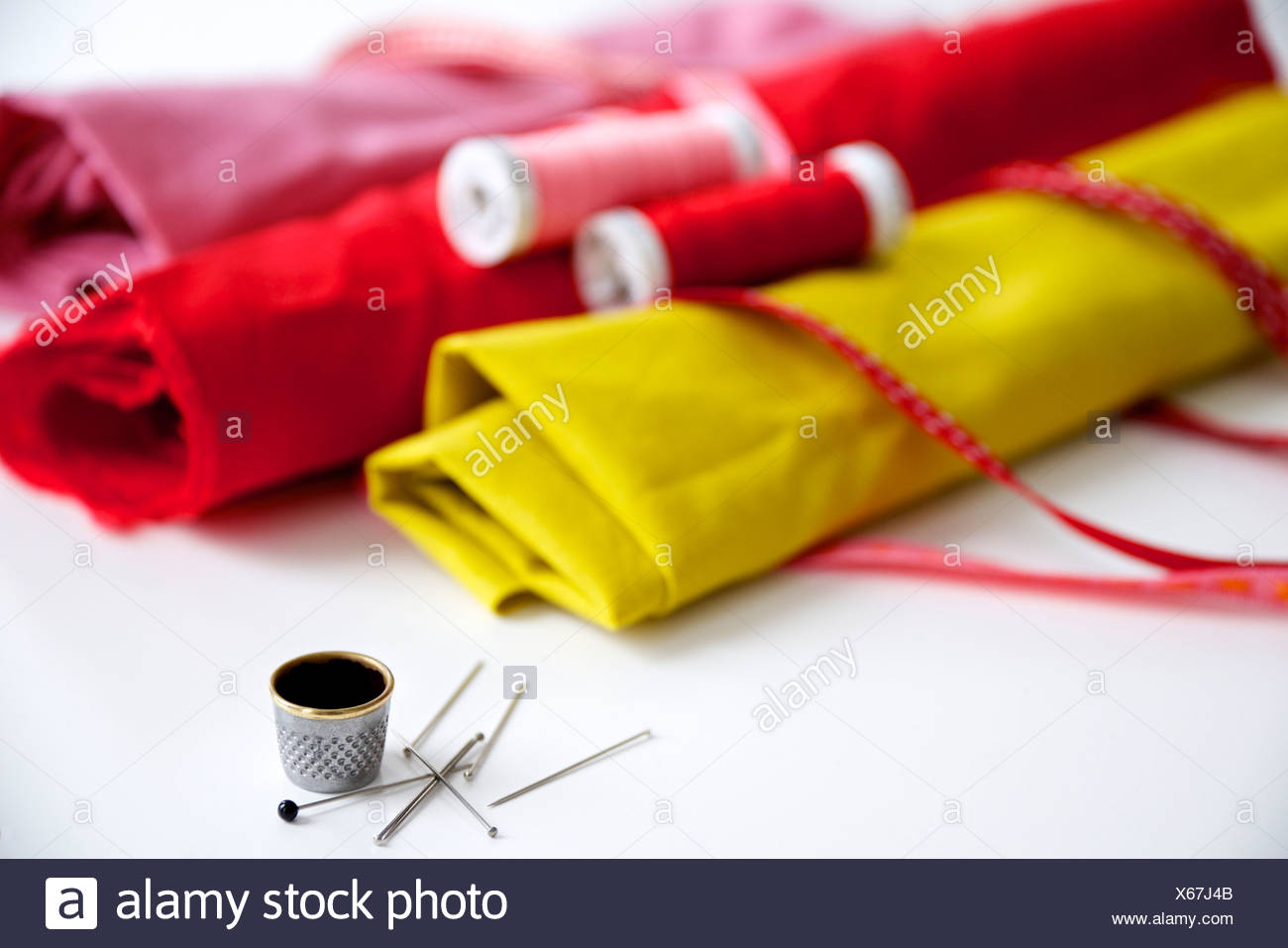 Sewing materials and fabric, Munich, Bavaria, Germany - Stock Image
