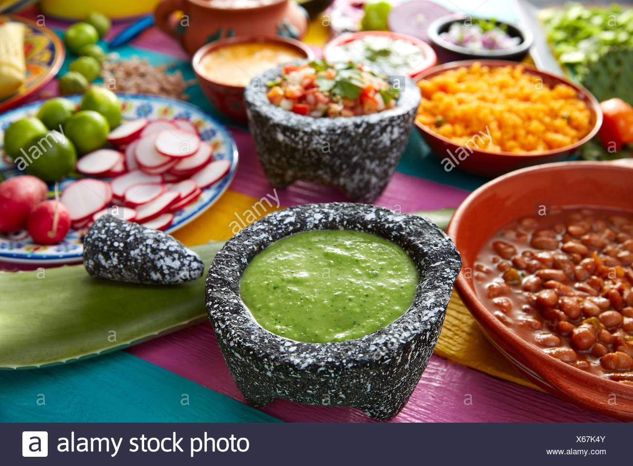 Green sauce with tomato and chili pepper in a mexican food table. Stock Photo