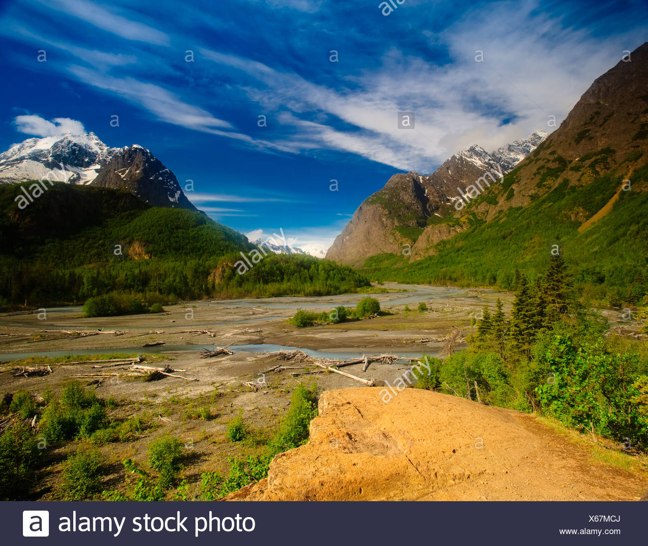 Scenic view of Eagle River in Chugach State Park, Southcentral Alaska, Summer Stock Photo