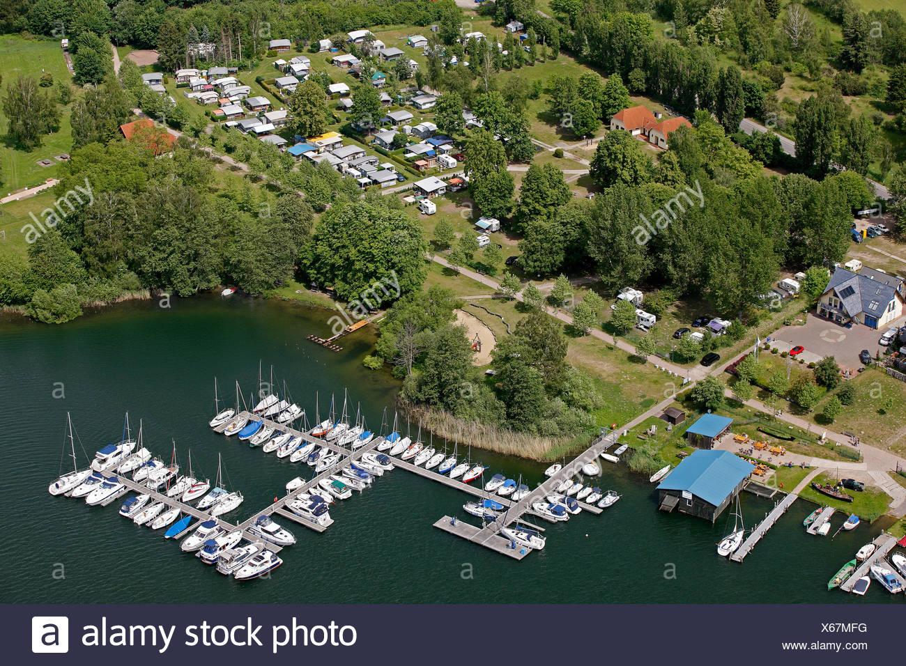 Aerial view, piers, sailing ships, Roebel, Mueritz, Mecklenburg-Western Pomerania, Germany, Europe - Stock Image