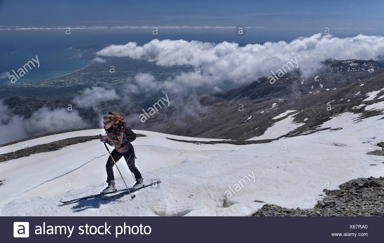 Mountain, mountain, landscape, blue, mountains, mountainous region, summit, peak, Greece, Europe, sky, Ida mountains, Crete, scen - Stock Image