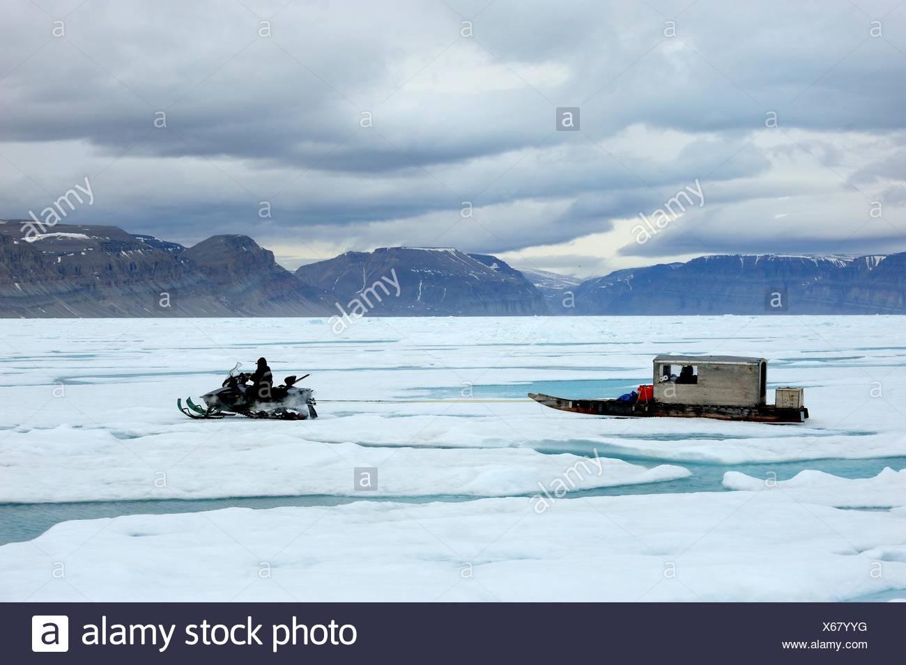 Inuit hunter driving snowmobile with Qamutik Inuit sledge on icepack, Arctic Bay, Baffin Island, Nunavut, Canada - Stock Image