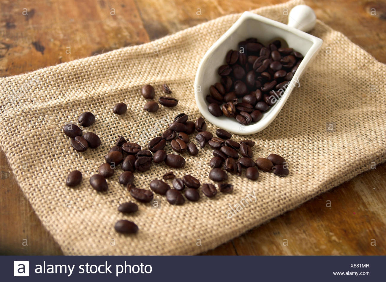 Coffee beans, jute bags, shovel, - Stock Image