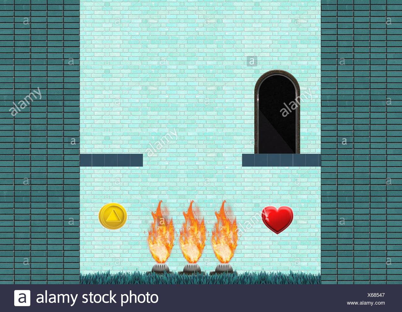 Computer Game Level with collectibles and fire traps - Stock Image