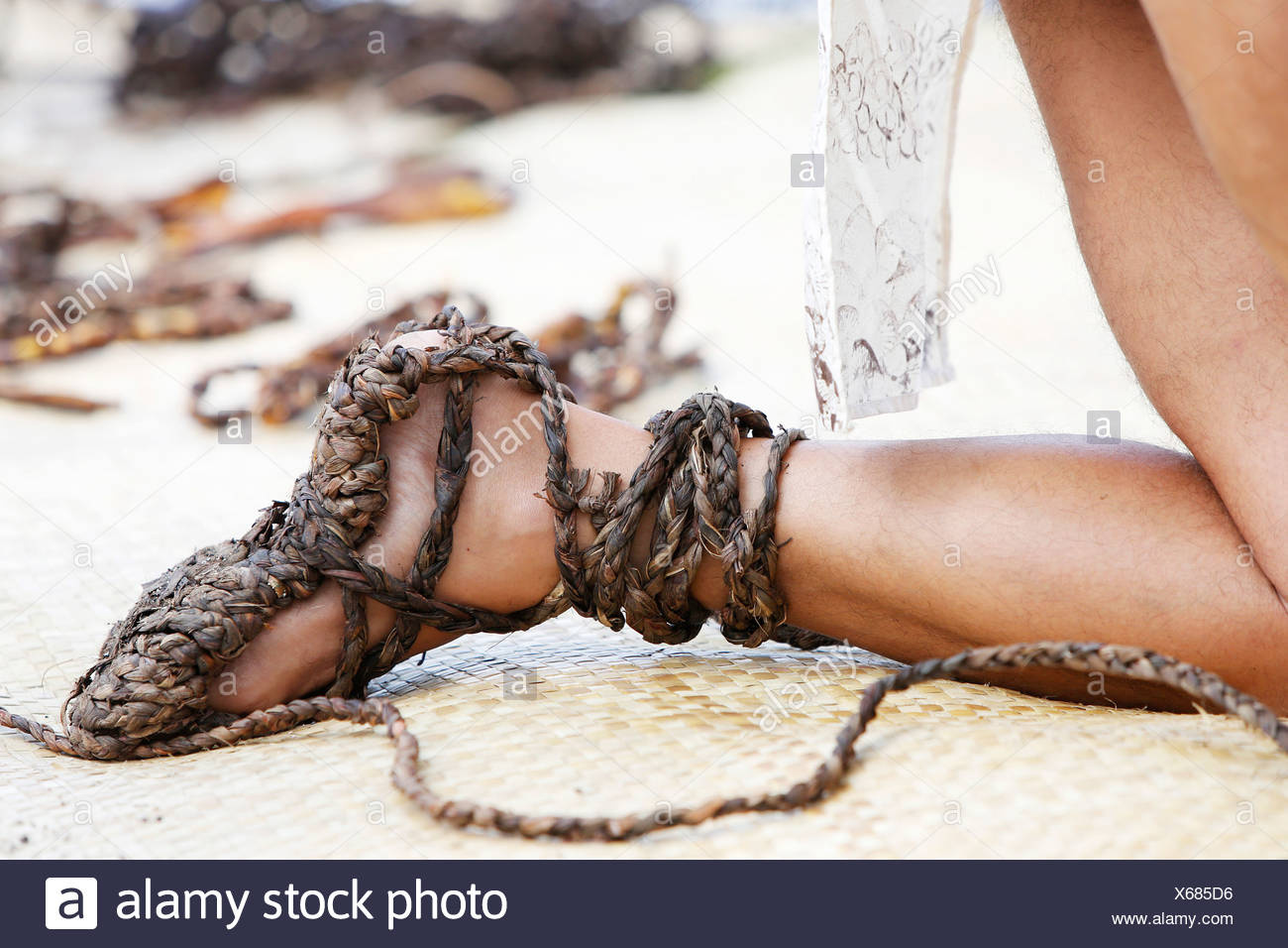 Sandals made of Ti-leaves, Cabbage Palm, Good Luck Plant, Palm Lily, Ti Plant, Kī, La'i (Cordyline fruticosa), Big Island - Stock Image