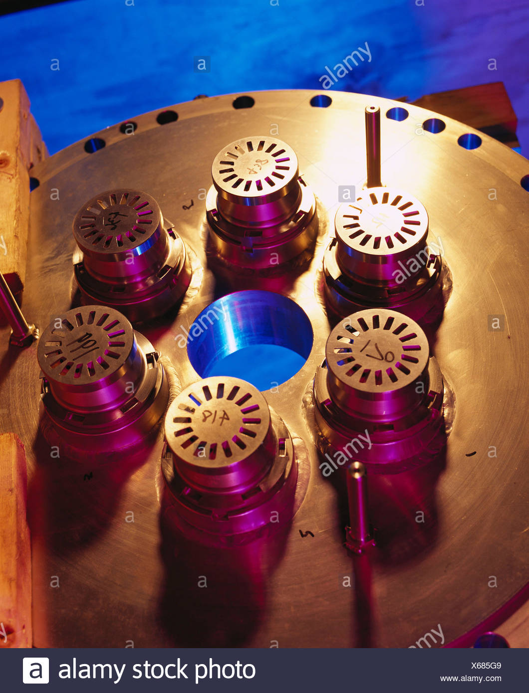 Gas turbine, power parts in warehouse, shots of engine parts
