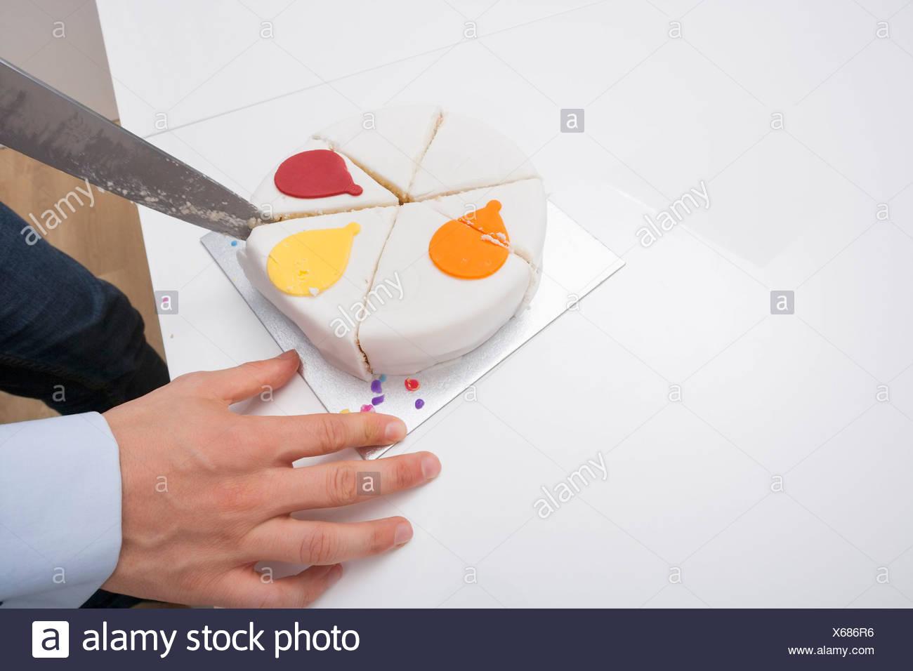 Man Cutting Birthday Cake Stock Photos Man Cutting Birthday Cake
