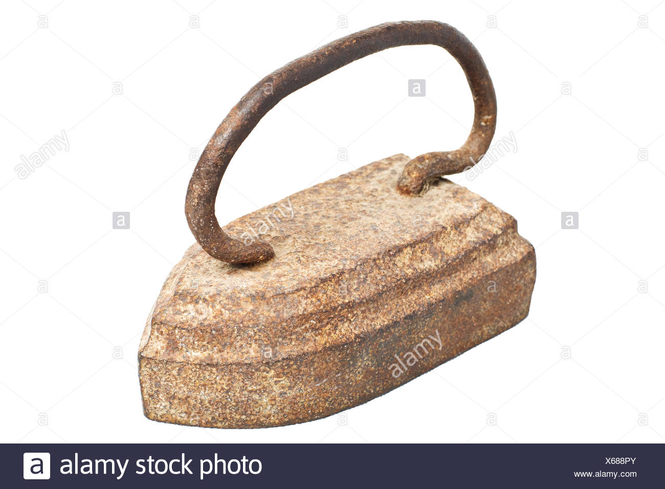 Old vintage Russian Soviet rusty iron isolated on a white background. - Stock Image