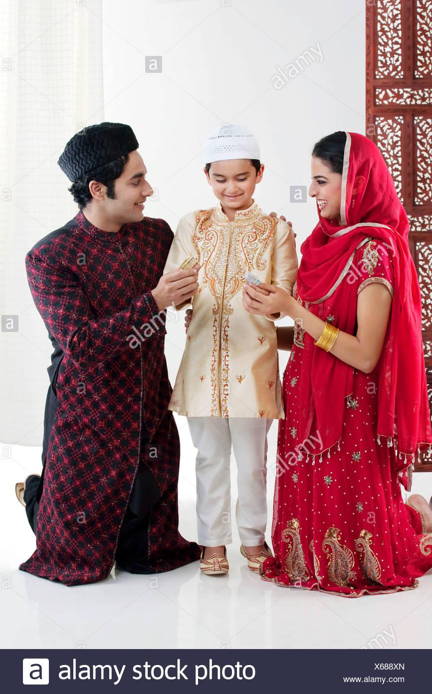 Muslim family - Stock Image