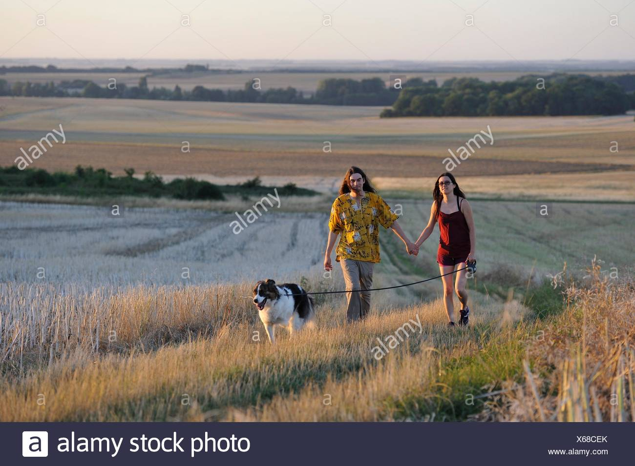 couple of young people walking with a dog around Mittainville, Yvelines department, Ile-de-France region, France, Europe. - Stock Image