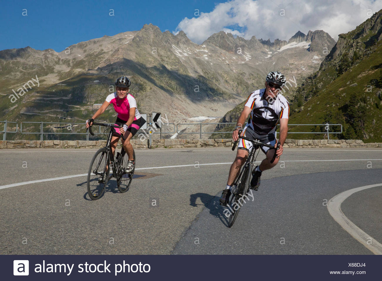 Gletsch VS, riding a bicycle, Grimsel Pass, canton, VS, Valais, glacier, ice, moraine, bicycle, bicycles, bike, riding a bicycle - Stock Image