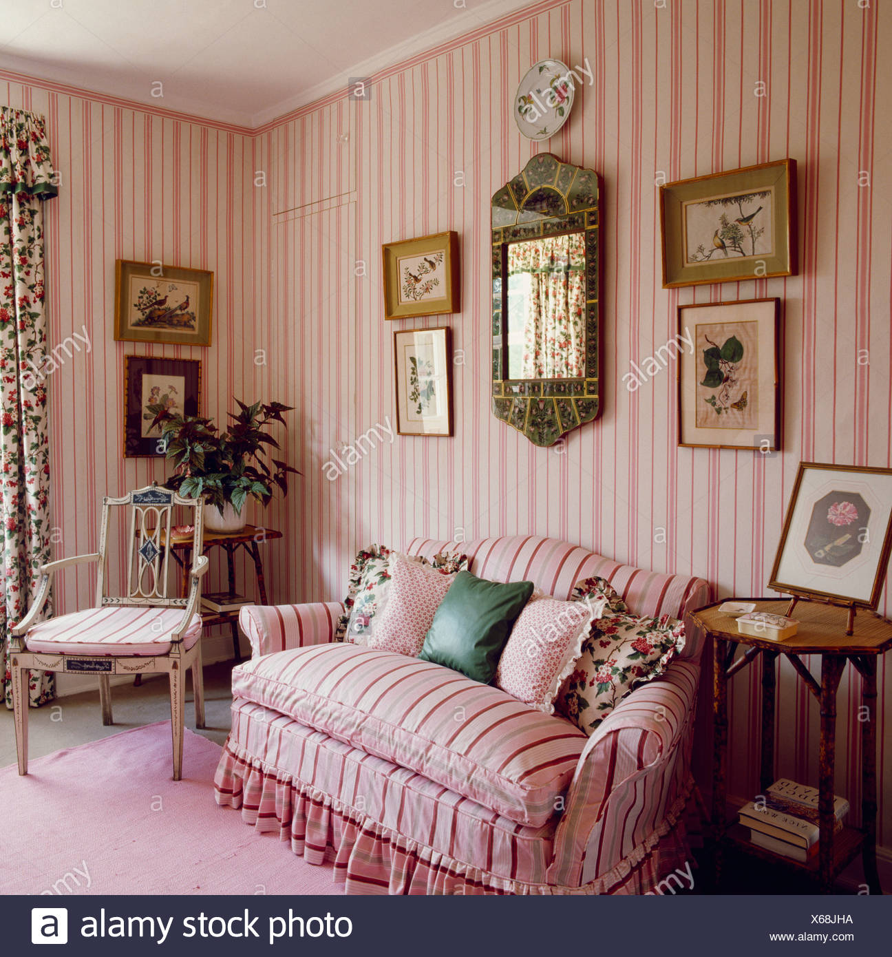 striped sofas living room furniture. Pink Striped Sofa In Country Living Room With Wallpaper - Stock Image Sofas Furniture M