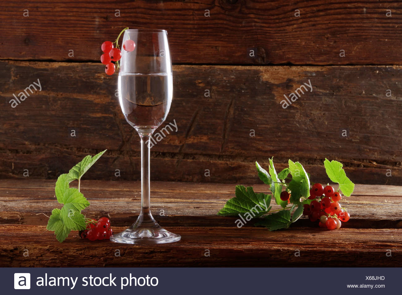 A glass of red currant schnapps with red currants (Ribes rubrum) on wooden background Stock Photo