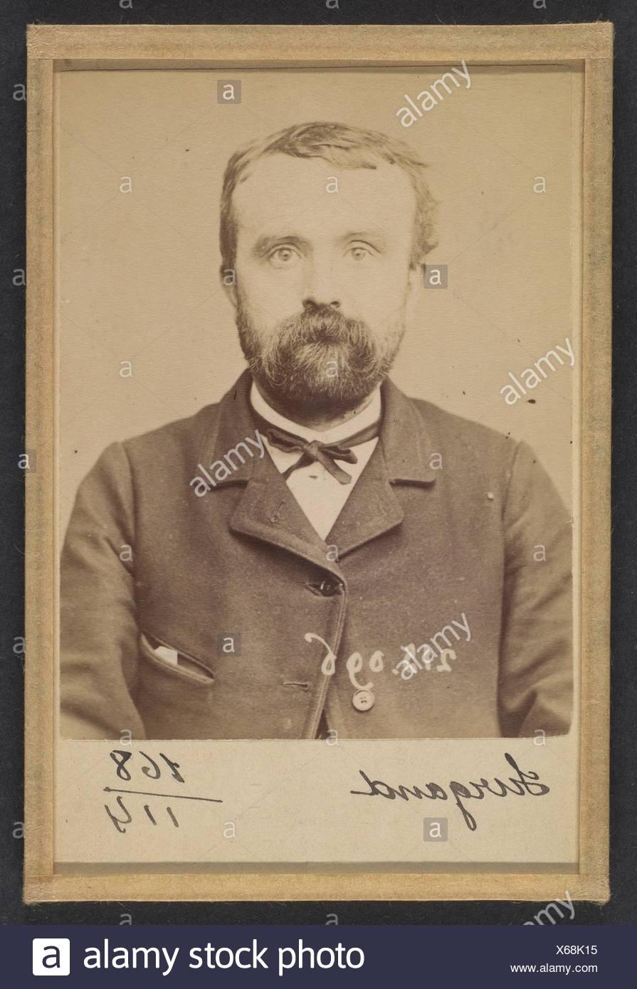 Surgand. Alphonse. 21 ans, né à Lyon. Réparateur de chaussures. Anarchiste. 4/3/94. Artist: Alphonse Bertillon (French, 1853-1914); Date: 1894; - Stock Image