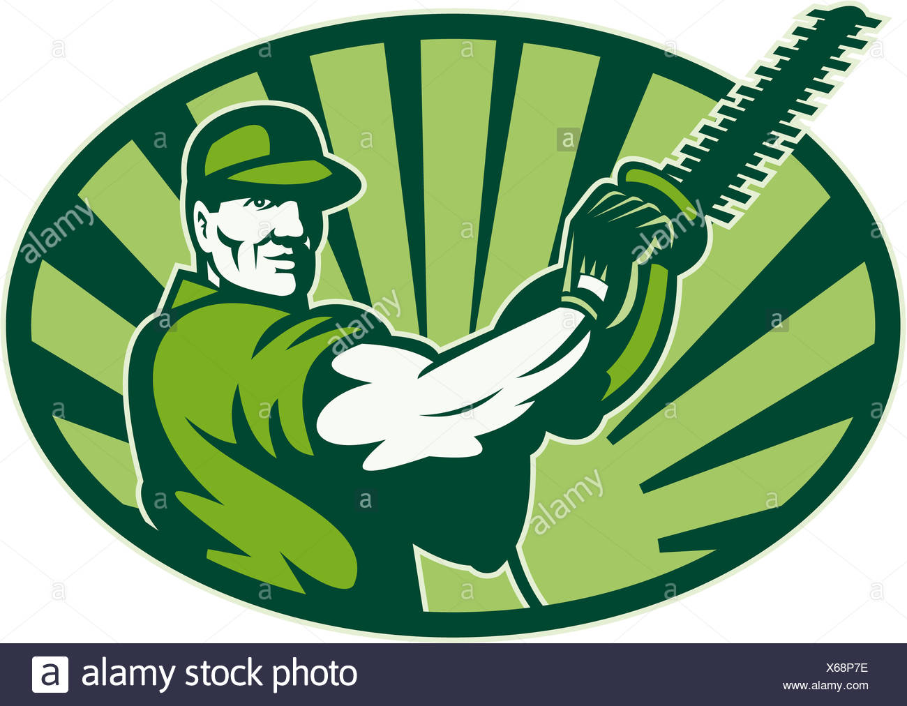 Gardener Landscaper Hedge Trimmer Retro - Stock Image