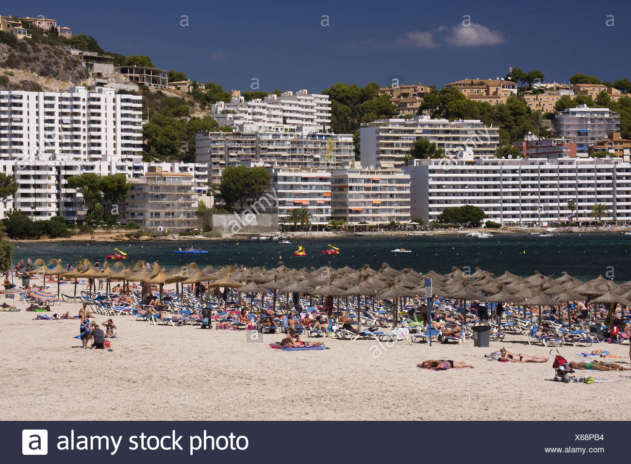 Sandy beach of Santa Ponsa, Majorca, Balearic isla - Stock Image