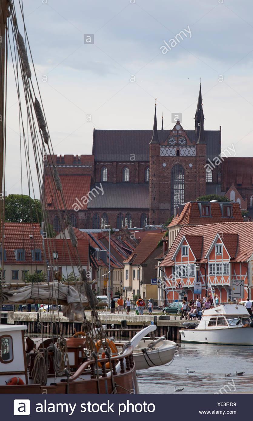 Old port of Wismar, Mecklenburg-Western Pomerania - Stock Image