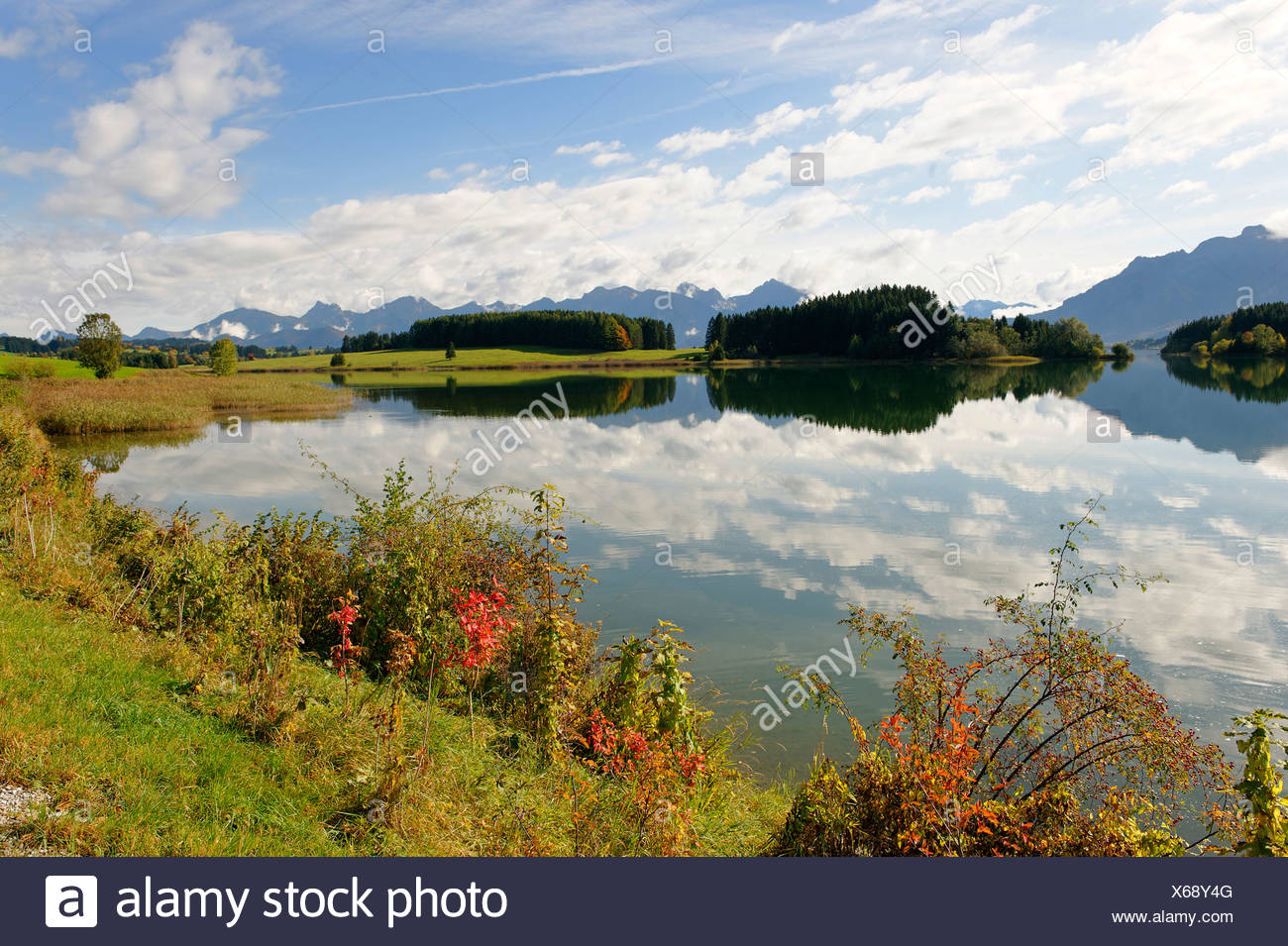 Forggensee lake in front of the Saeuling mountain, 2047 m, and the mountains of Thannheim, Bavarian Swabia, Bavaria, Germany Eu Stock Photo