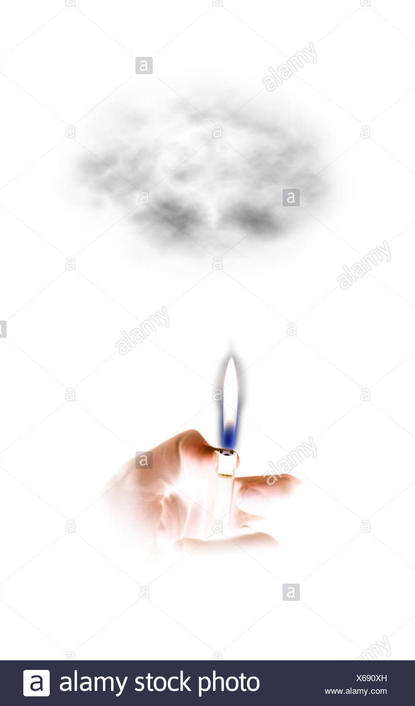 burnig lighter in a hand, photo composing - Stock Image