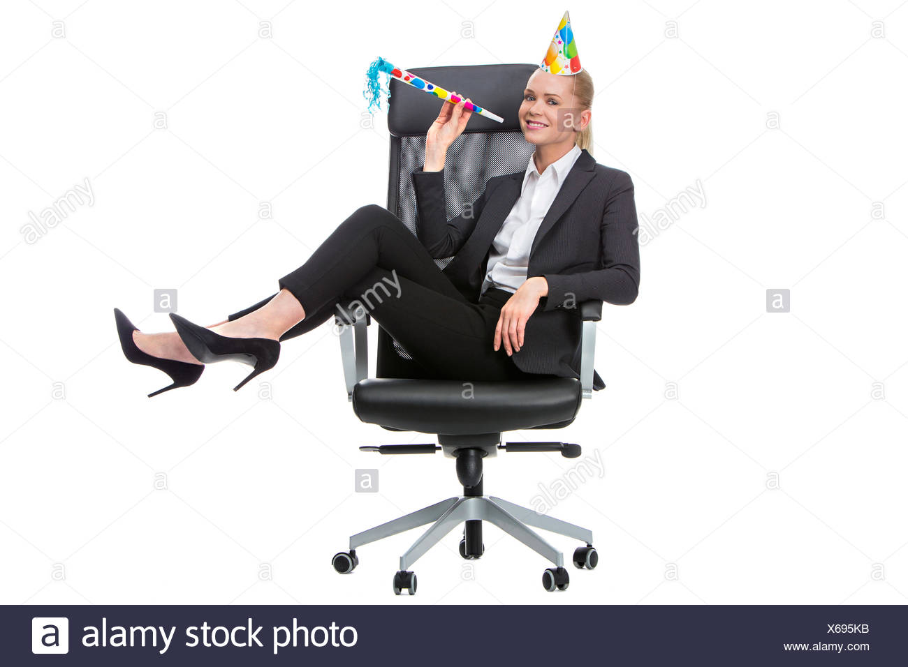 woman gesture humans human beings people folk persons human human being office laugh laughs laughing twit giggle smile smiling - Stock Image