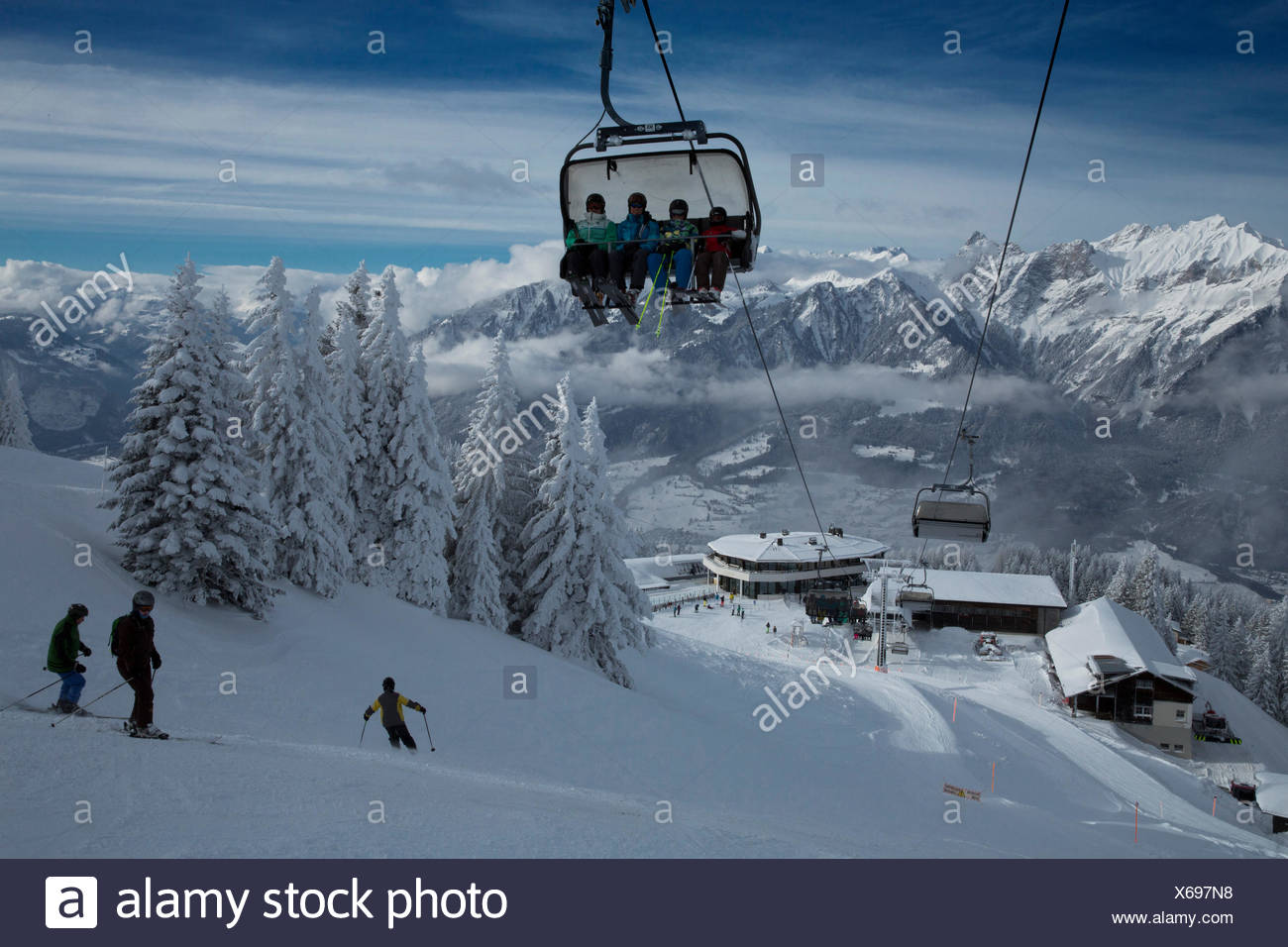 Mountain station Pardiel in Pizol with Rhine Valley and Grisons mountains, - Stock Image
