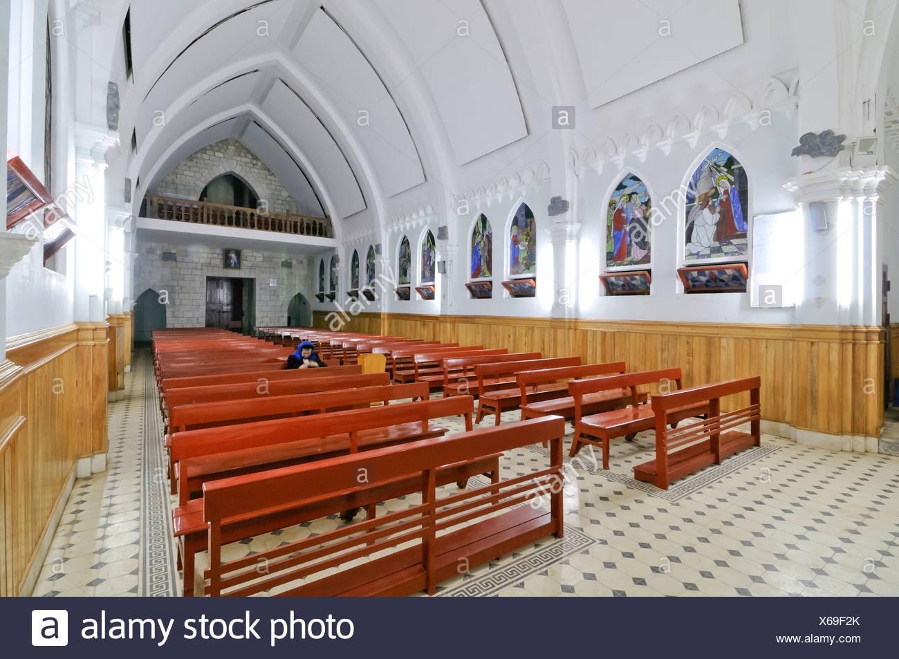 Interior and altar, famous French Church, Nha tho da Sa Pa, Thi tran Sapa, Sapa or Sa Pa, Lao Cai province, northern Vietnam - Stock Image