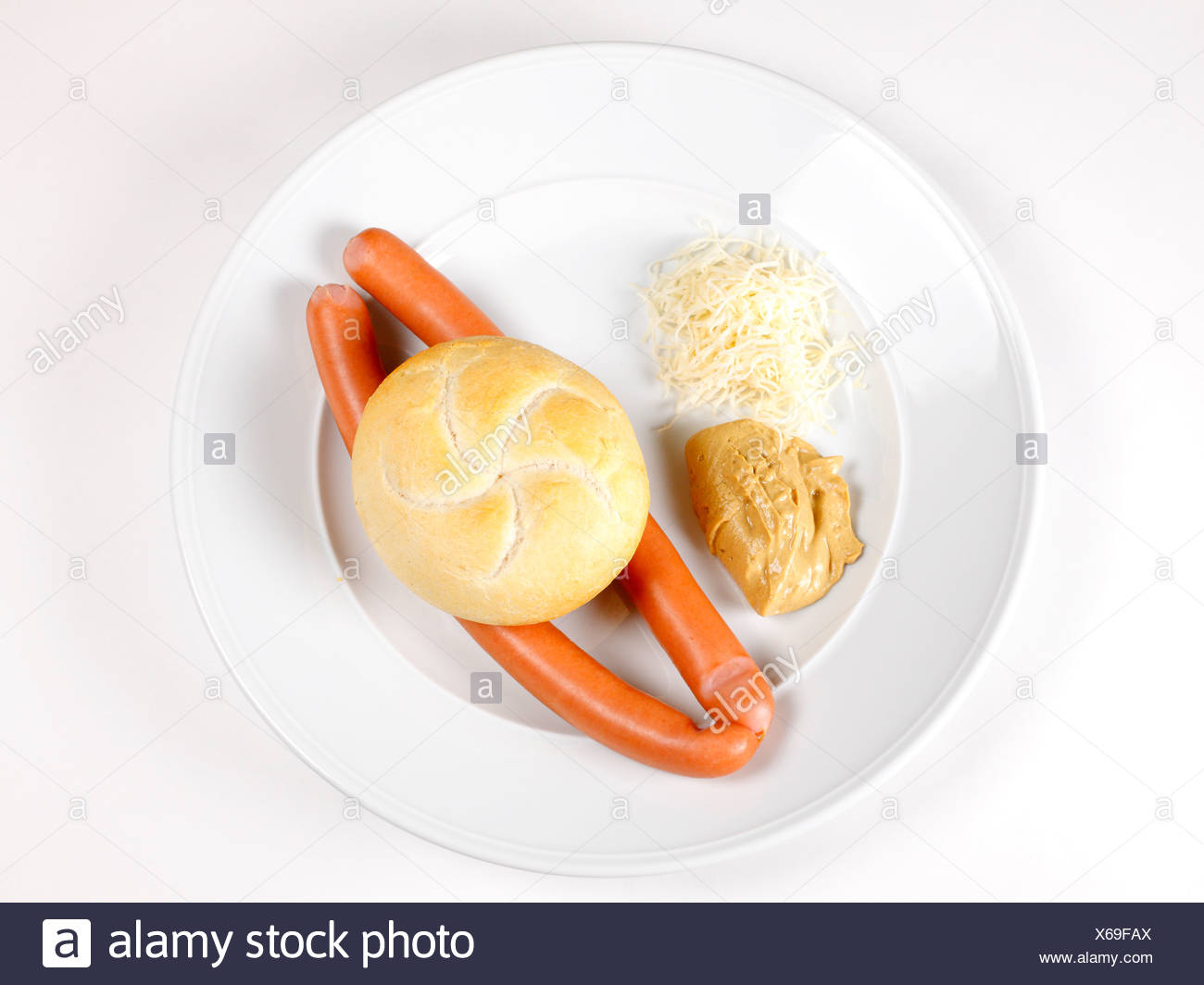 Sacher sausages, Vienna sausage with mustard, horseradish and bread Stock Photo