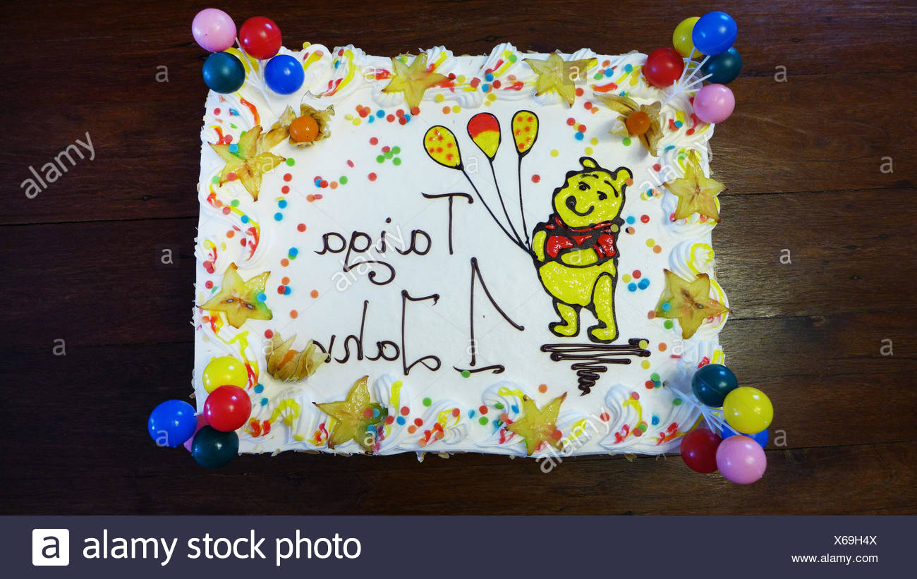 colorful children-birthday cake for having one's first anniversary - Stock Image