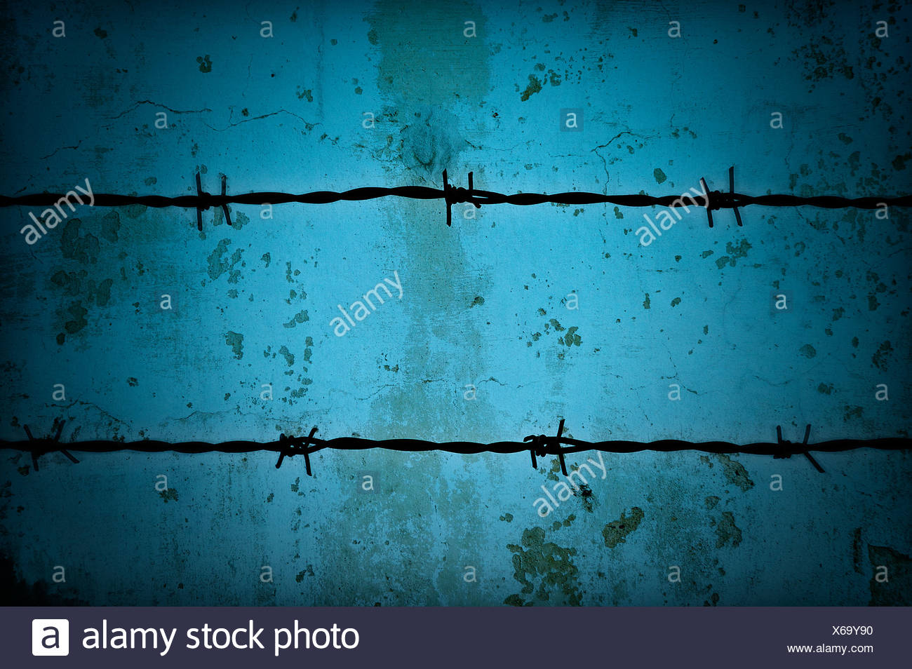 Barbed wire fence. - Stock Image