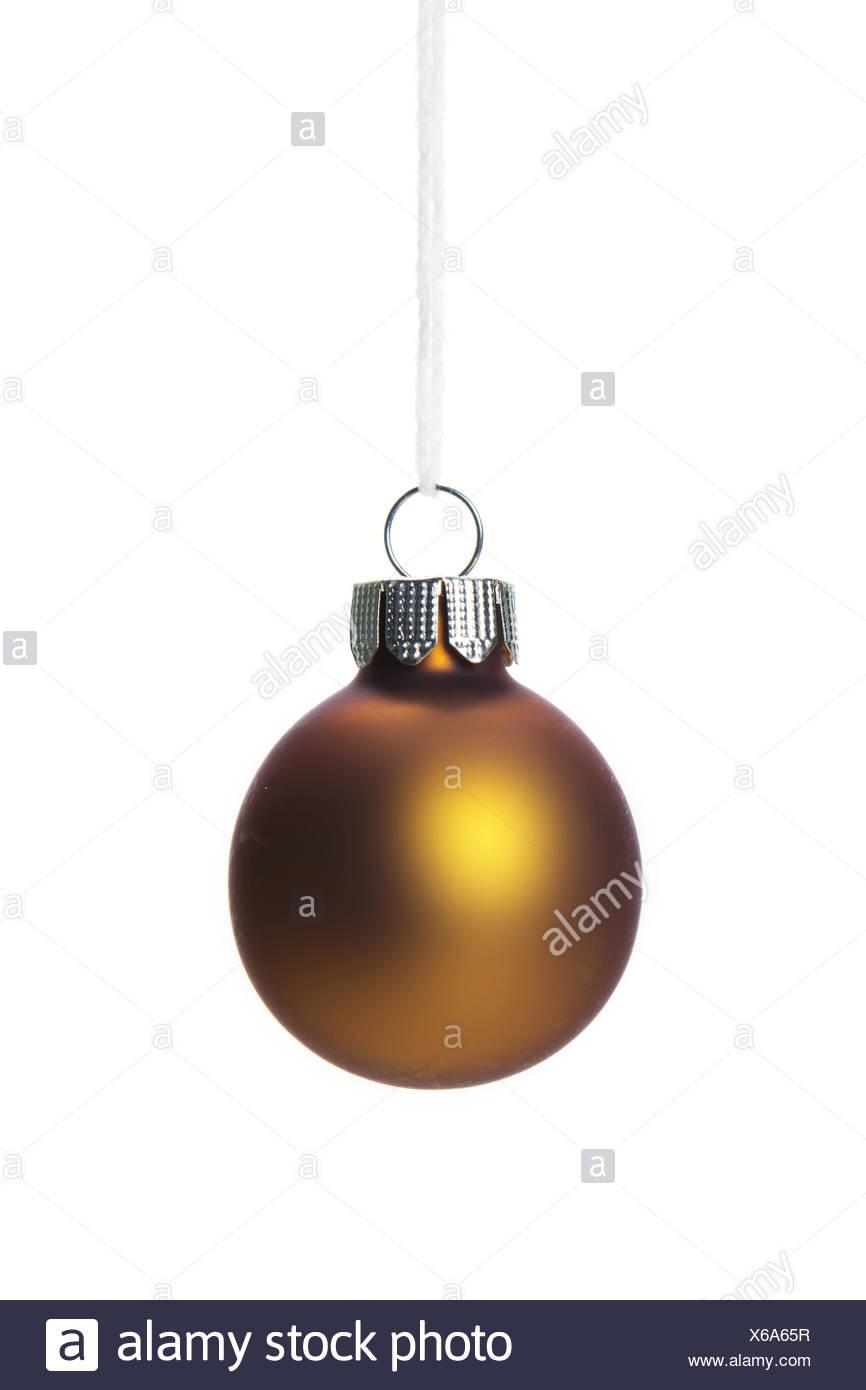 Christmas, Bronze Christmas Bauble Isolated   Stock Image